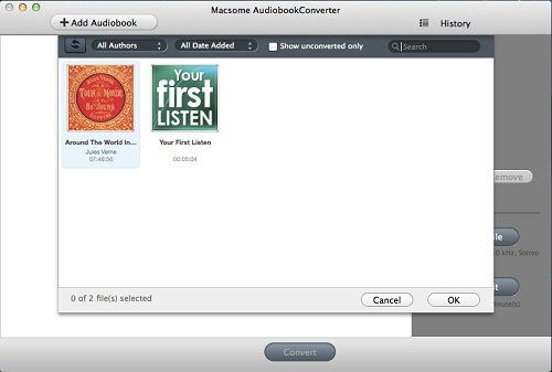 Adding window of Macsome iTunes Converter