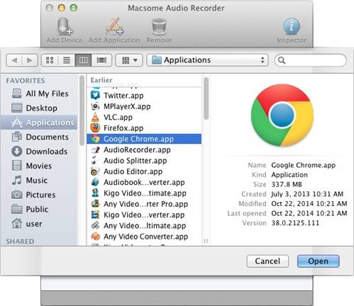 Add Chrome to record