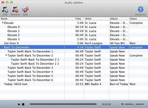 Macsome Audio Splitter for Mac screenshot: Audio Splitter, split audio file, MP3 splitter, AAC Splitter, Mac OS X